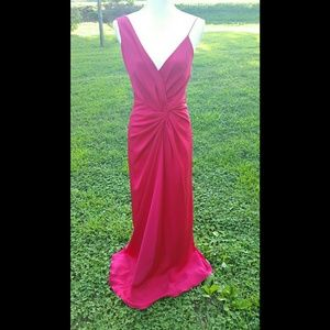 Nicole Miller Fuschia Ruched Back Silk Gown